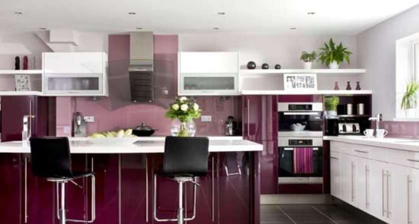 Beauty Houses Purple Modern Interior Designs Kitchen