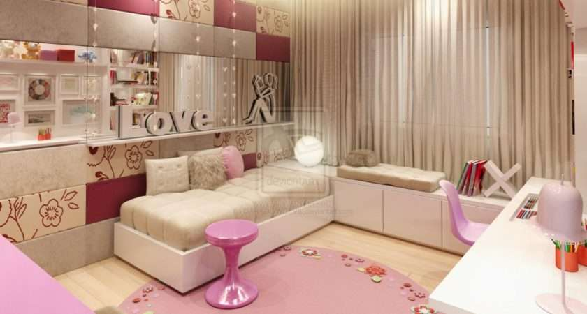 Bedroom Girl Rooms Girls Ideas Round Pink Smooth Rug Mirror