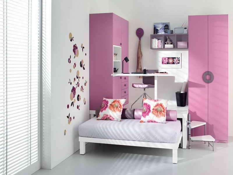 Bedroom Girly Pink Loft Storage Design Decorate