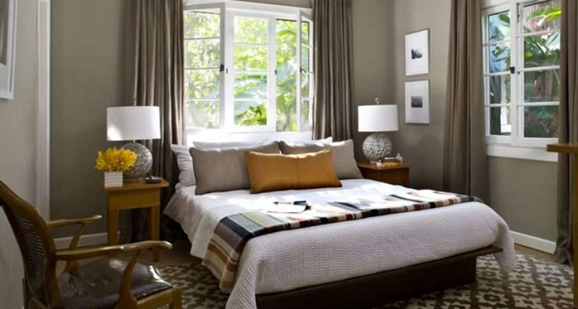 Bedroom Grey Walls White Trim Taupe Curtains Simple