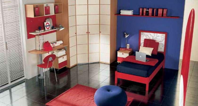 Bedroom Red Blue Ideas Kids