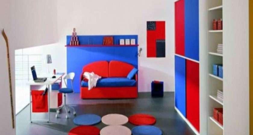 Bedroom Red Blue Ideas Modern White