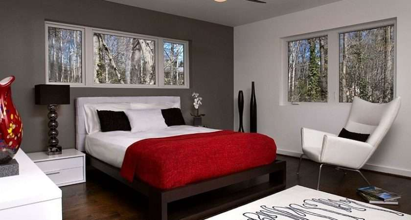 Bedroom Red Gray Bedrooms Design