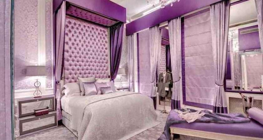 Bedroom Romantic Room Ideas Purple Color