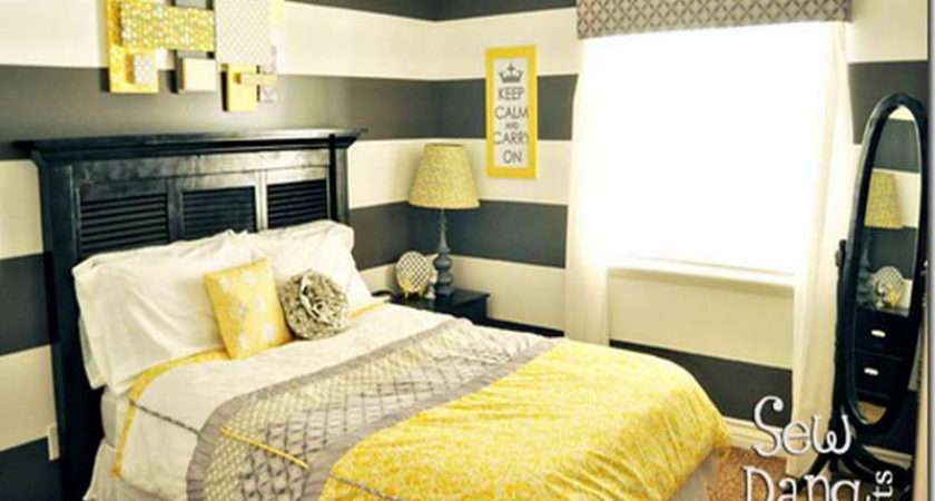 Bedroom Yellow Gray Bedding Black White
