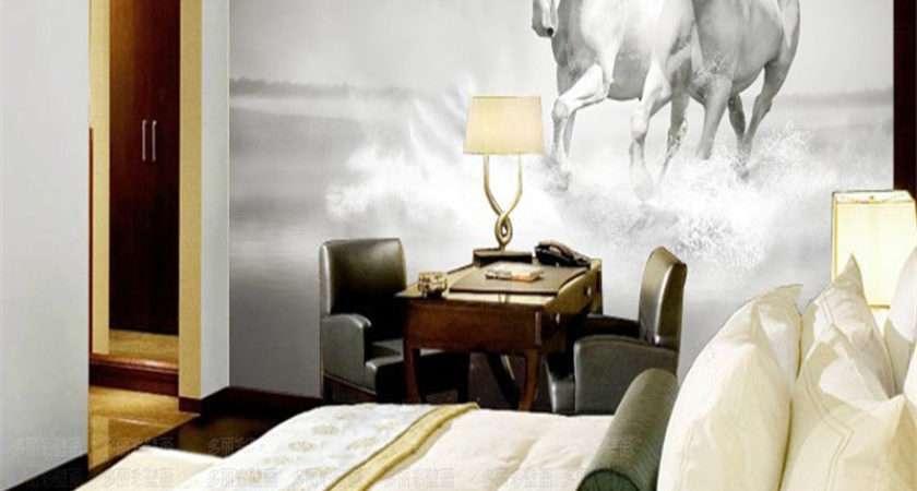 Beibehang Custom Roll White Horse Mural