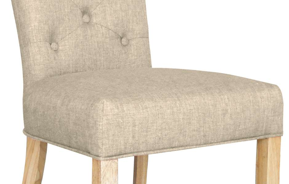 Beige Fabric Dining Chairs Pair Albany
