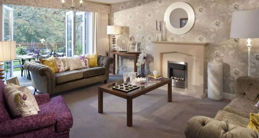 Beige Purple White Living Room Lounge Sitting