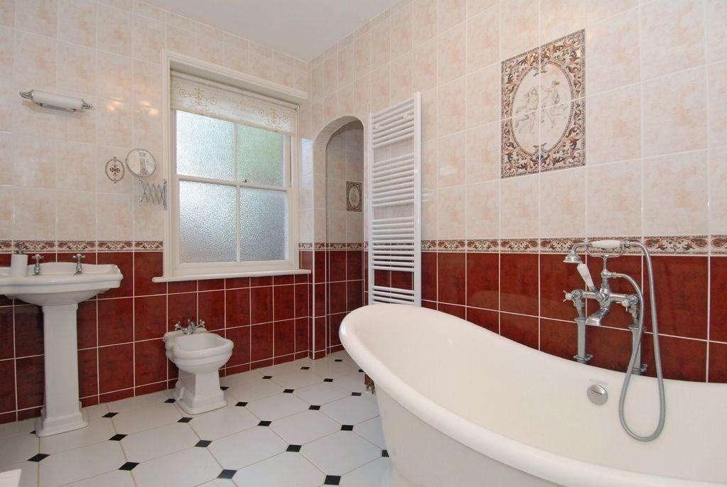 Beige Red White Bathroom