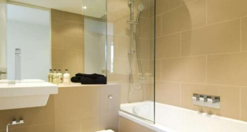 Beige White Bathroom Bath Floating Sink Shower Tiles
