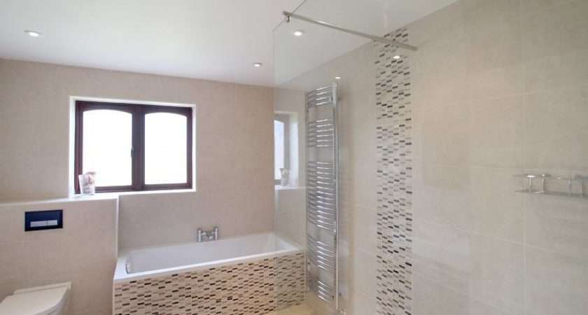 Beige White Bathroom Bath Tub Shower Enclosure Tiles