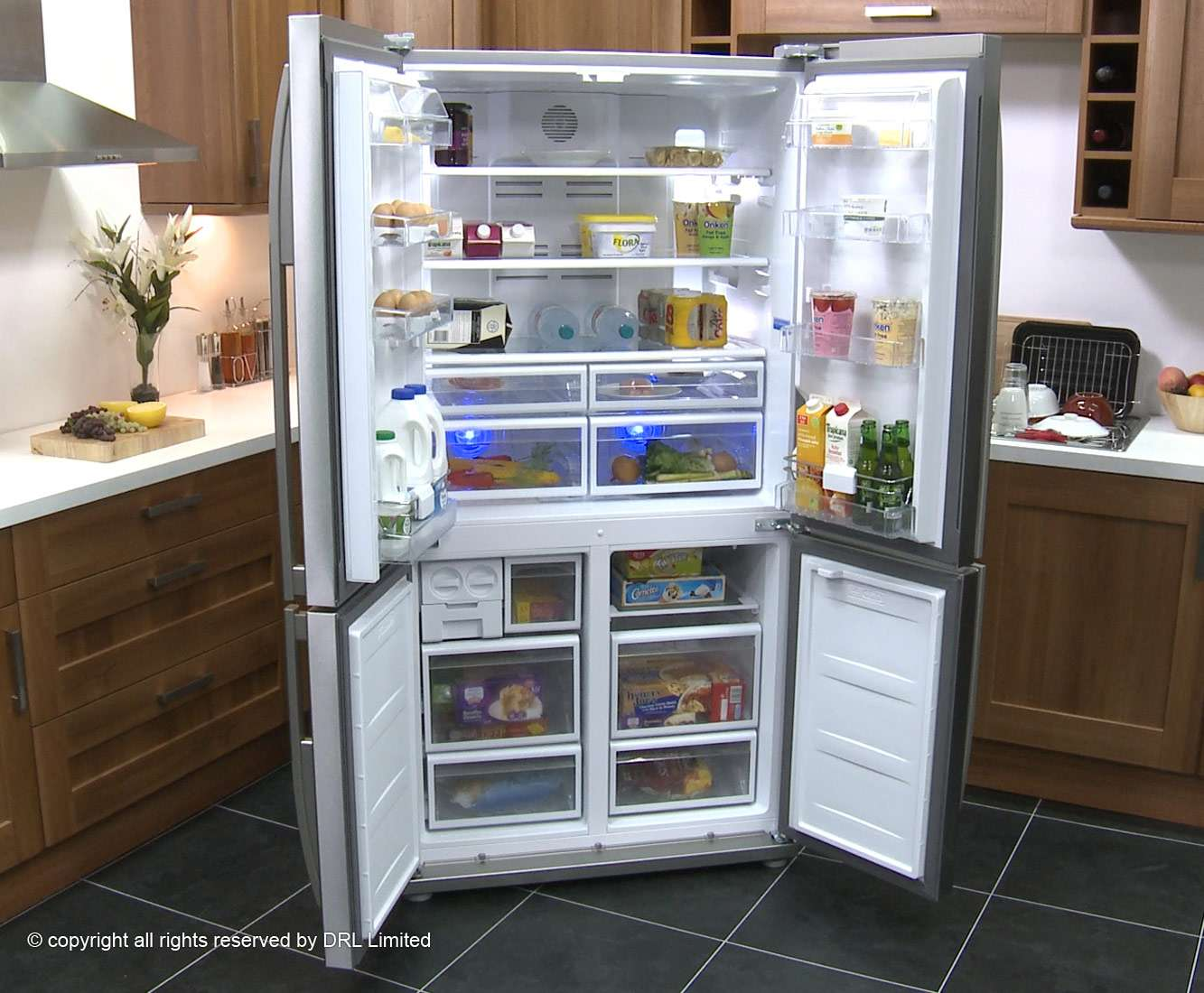 Beko Gne Apx American Fridge Freezer Stainless Steel