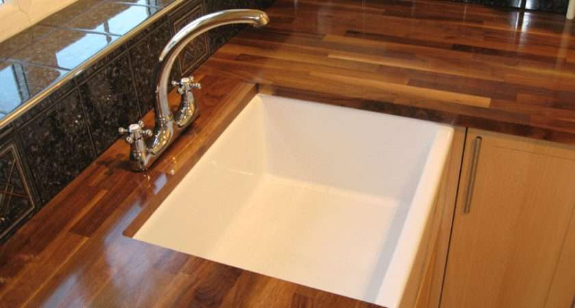 Belfast Sink Set Into American Black Walnut Worktop
