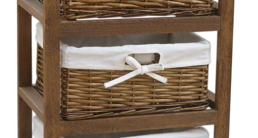 Bentley Home Wooden Storage Cabinets Wicker Basket