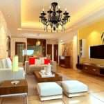 Best Yellow Monochrome Living Room Decorating