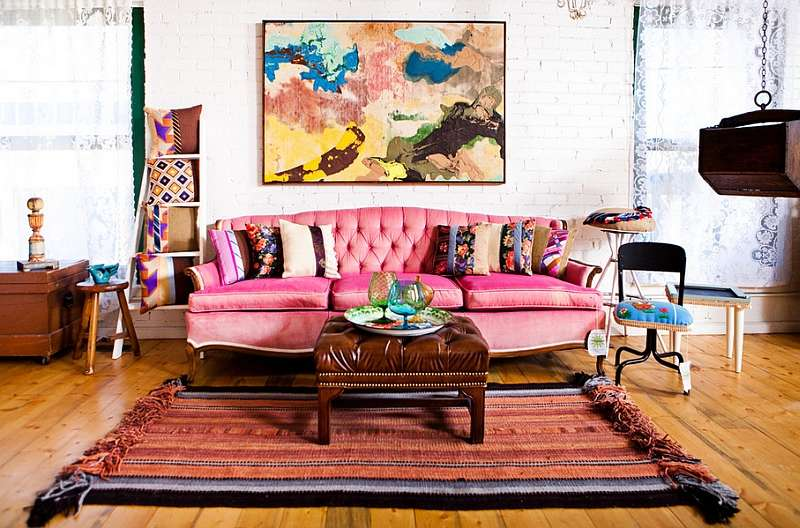 Between Eclectic Bohemian Styles Living Room