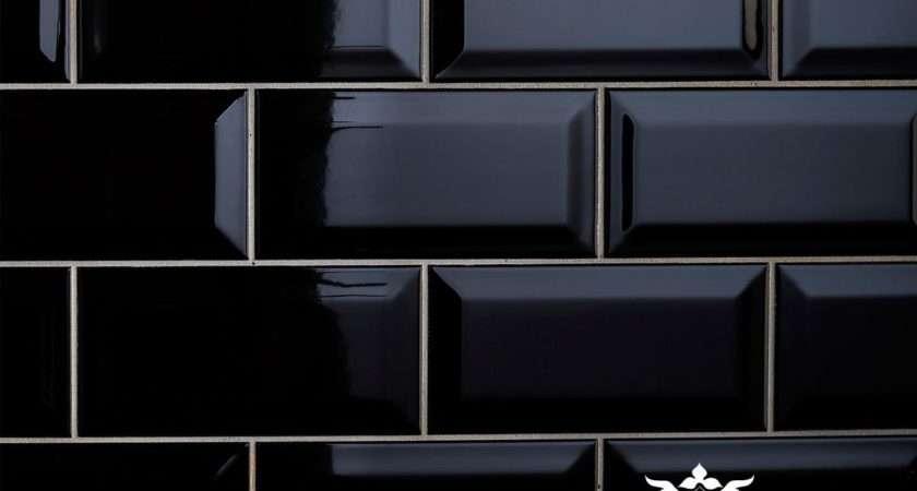 Bevel Wall Tiles Black Interior Ceramic