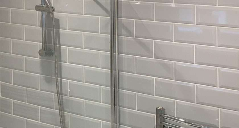 Bevelled Brick Light Grey Gloss Wall Tiles Retro Metro