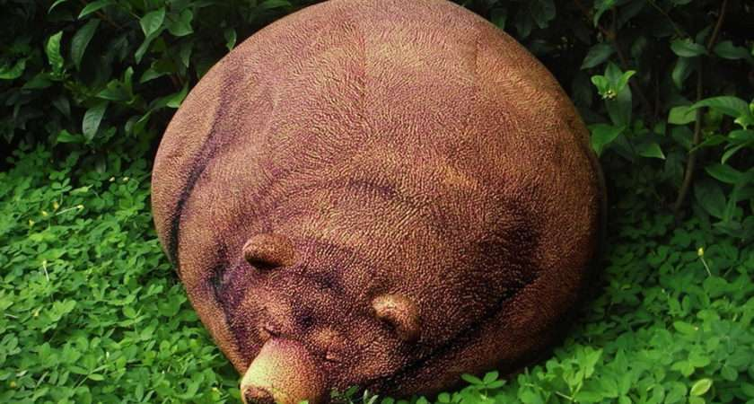 Big Sleeping Grizzly Bear Bean Bag Hiconsumption
