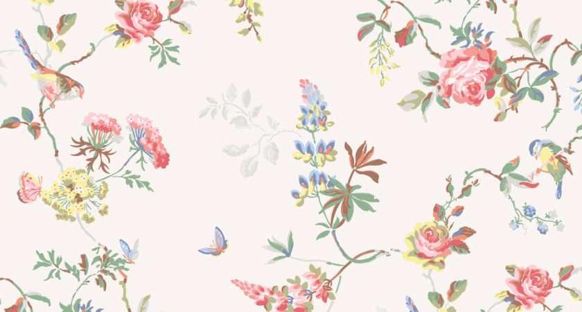 Birds Roses Furnishing Fabric White Cath Kidston