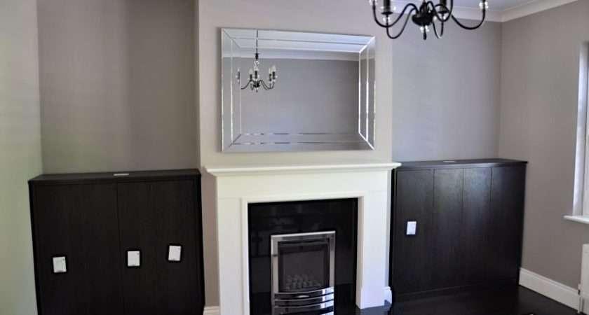 Black Brown Ferrara Oak Melamine Faced Living Room Alcove Cupboards