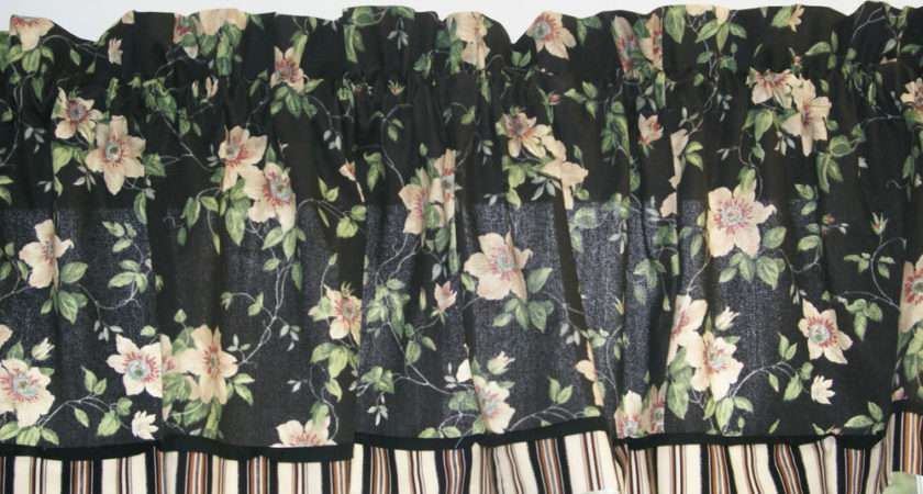 Black Cream Floral Toile Valance Drapery Weight Can Alter