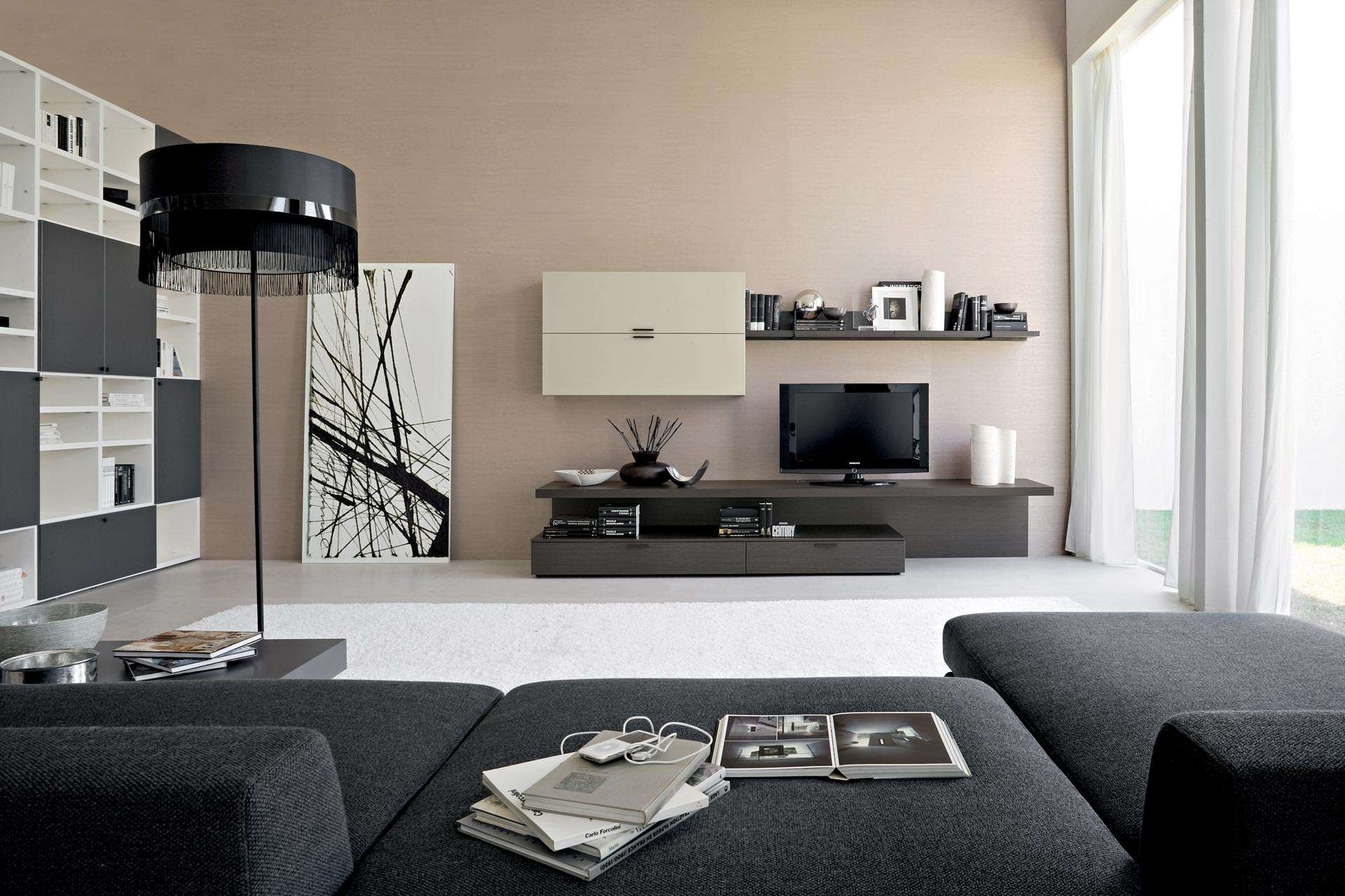Black Drum Floor Lamp Modern Living Room Ideas Sofa