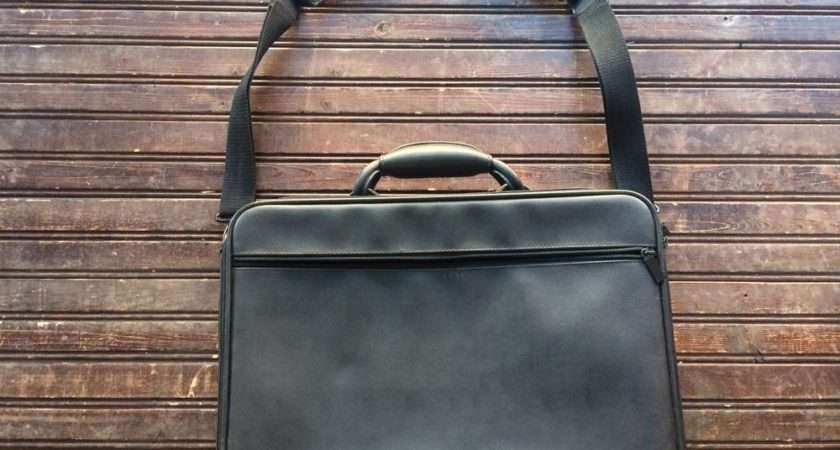 Black Faux Leather Suitcase Laptop Carry Bag Briefcase Ebay