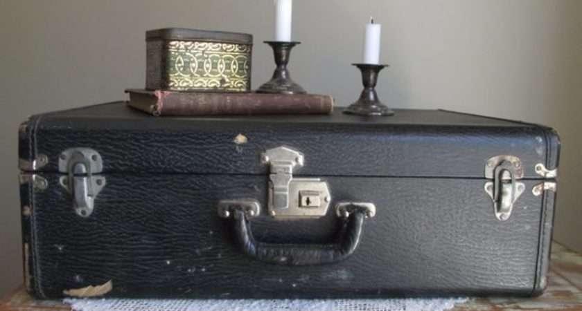 Black Faux Leather Suitcase Vintage Travel Case Hard