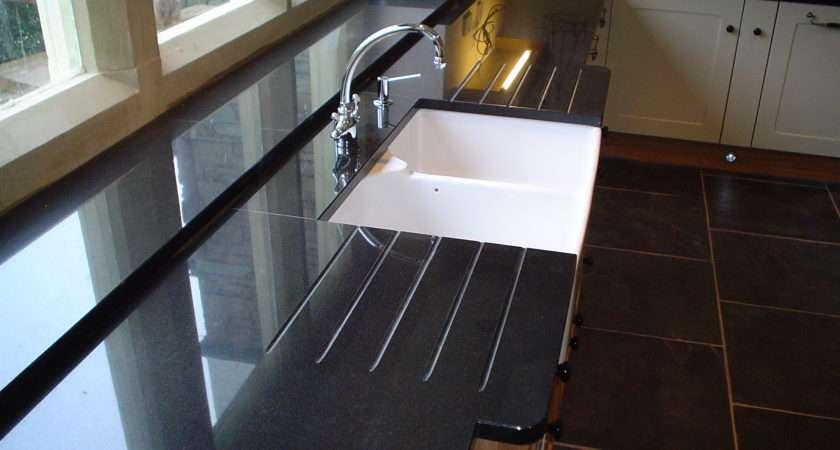 Black Granite Worktop Belfast Sink Double Drainer Break Front