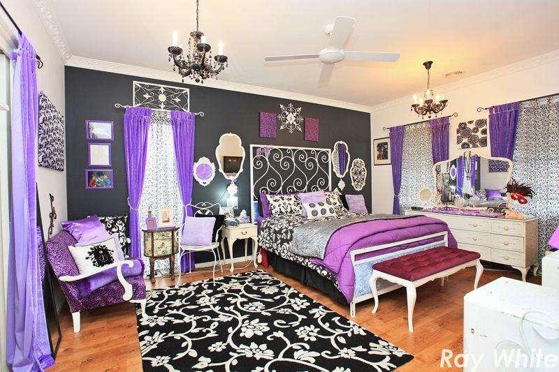 Black Purple Bedroom Hooked Houses