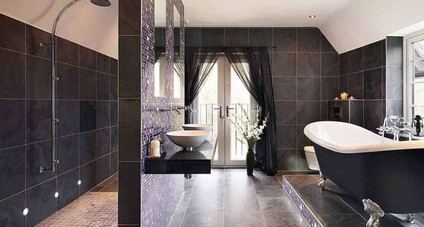 Black Tile Bathroom Designs Ideas Materials Walls