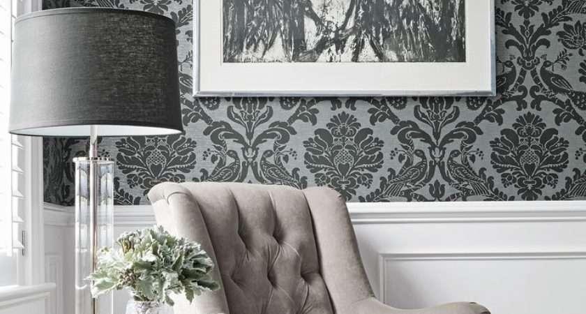 Black White Damask Furniture Living Rooms