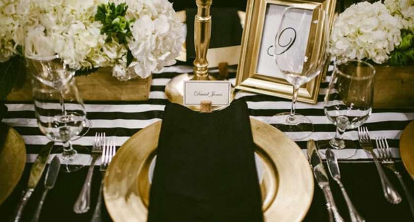Black White Gold Table Setting Idea Via