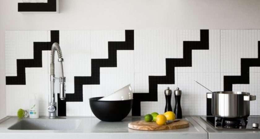 Black White Kitchen Tile Grasscloth