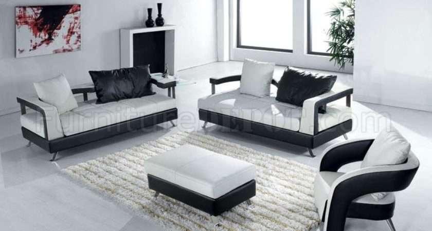 Black White Leather Ultra Modern Living Room Set Vgs