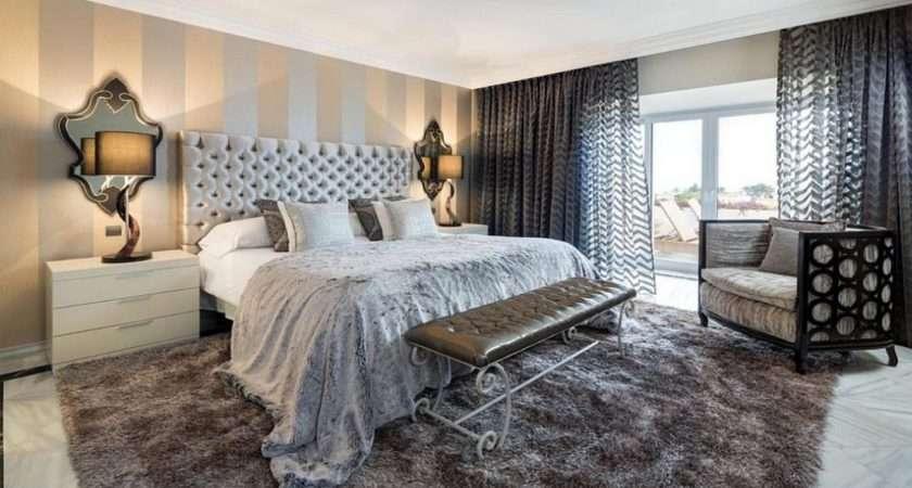 Black White Modern Bedrooms Striped Borders