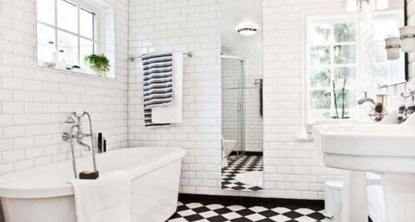 Black White Tile Bathroom Flooring Ideas Home