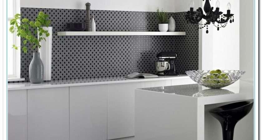 Black White Wall Tiles Kitchen