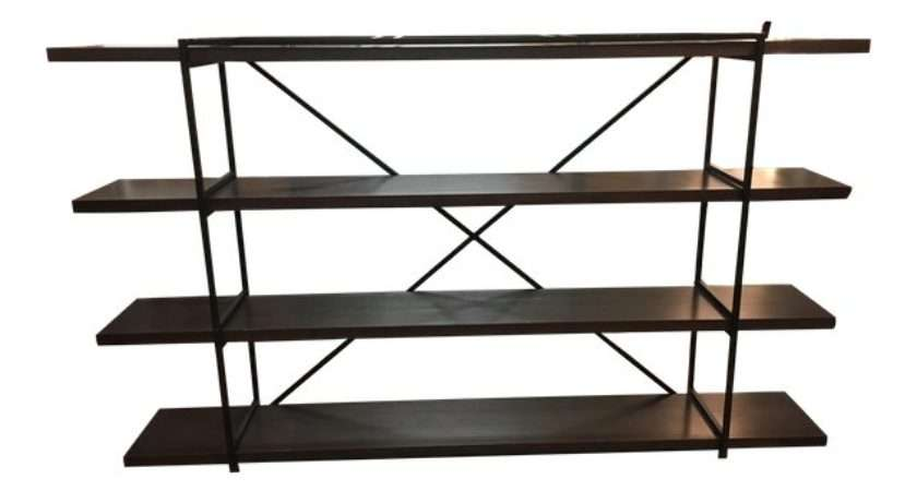 Black Wrought Iron Wood Shelf Unit Chairish