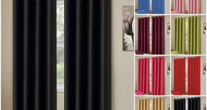 Blackout Curtain Pair Energy Saving Eyelet Ready Made Curtains Ebay