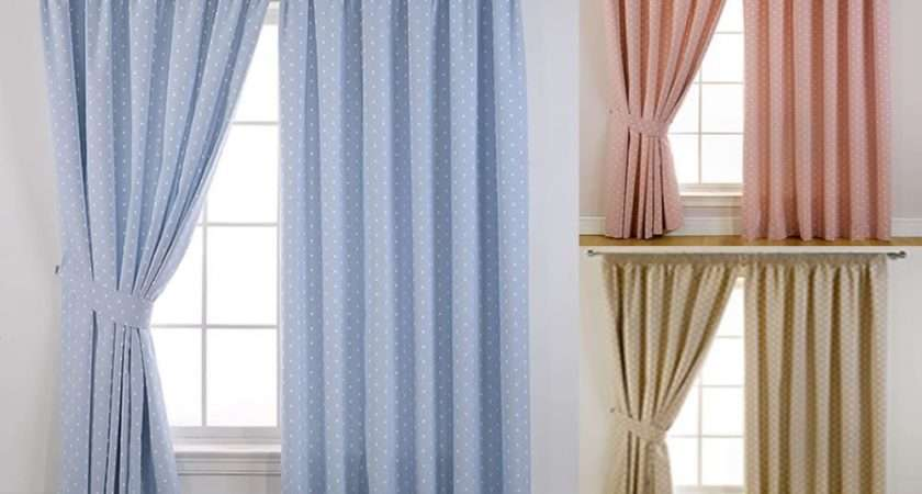 Blackout Polka Dot Lined Tape Top Curtains Pencil Pleat Curtain Pairs