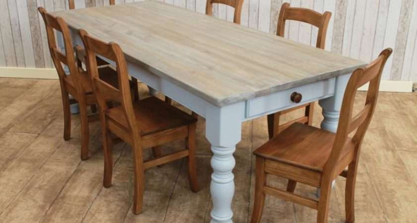 Bleached Wash Driftwood Pine Dining Table Kitchen