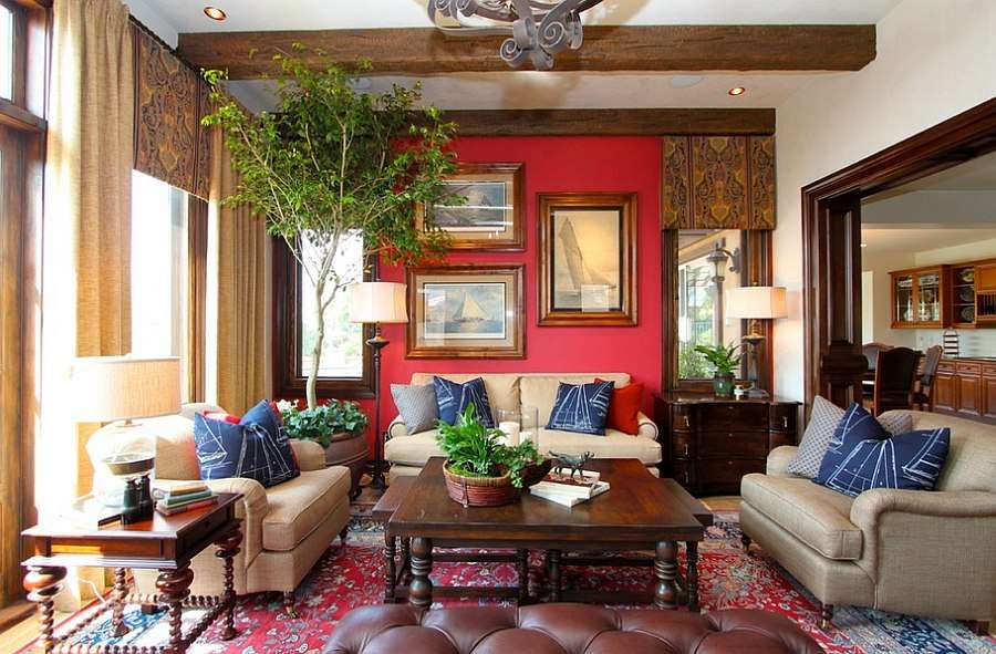 Blend Red Blue Beautiful Living Room