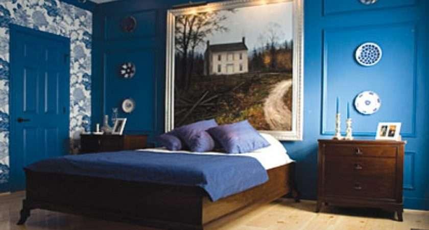 Blue Bedroom Walls Black Furniture Decorating