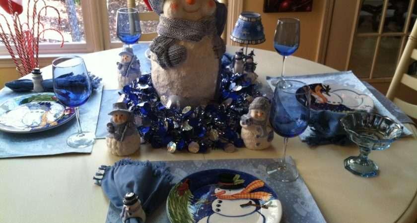 Blue Christmas Table Decorations Pinterest
