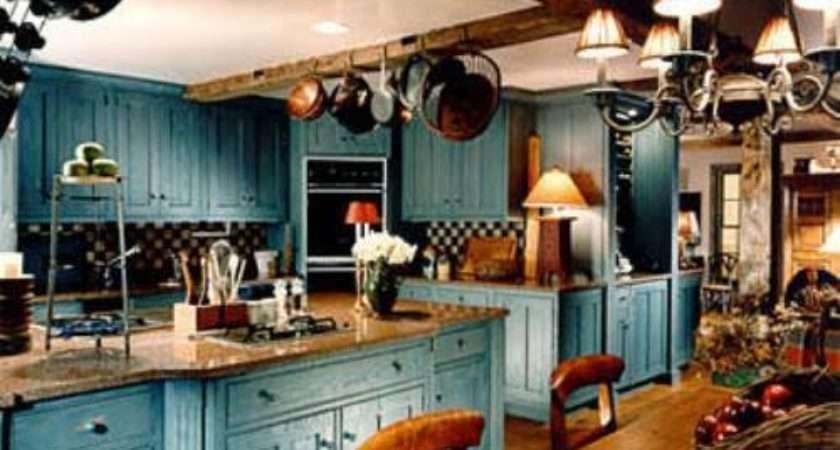 Blue Country Kitchen Design Interior