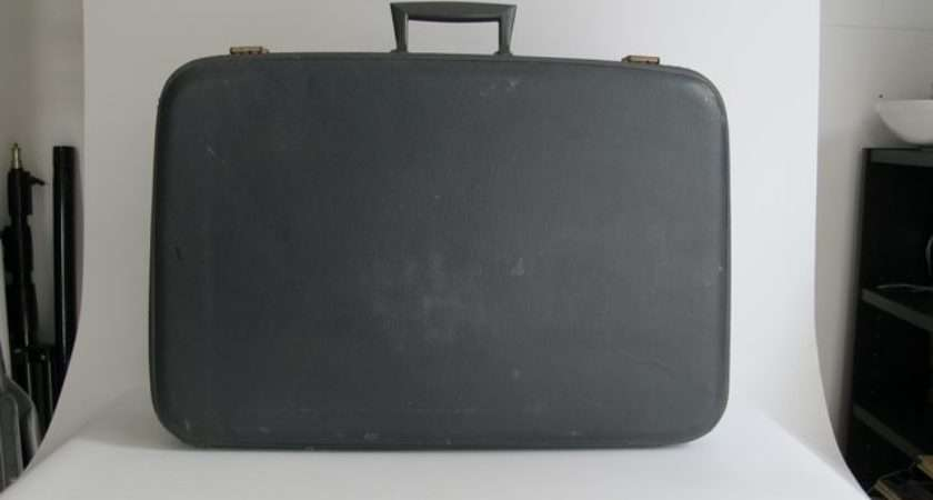 Blue Faux Leather Suitcase Chairish