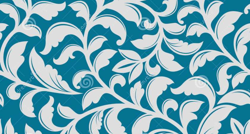 Blue Floral Pattern Vector Illustration Curve