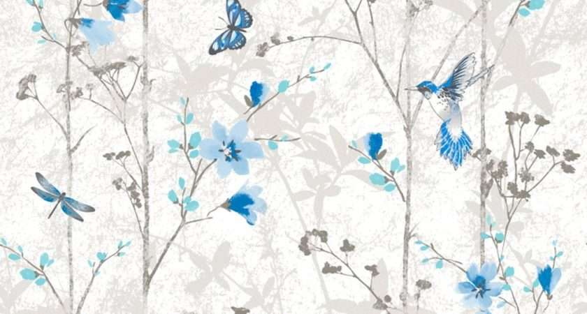Blue Flowers Butterflies Shabby Chic